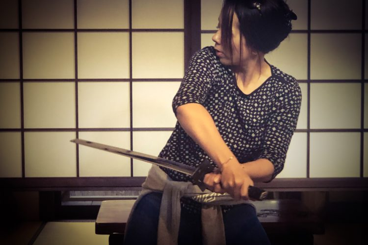 Katana, samurai remake at Kyoto accommodation