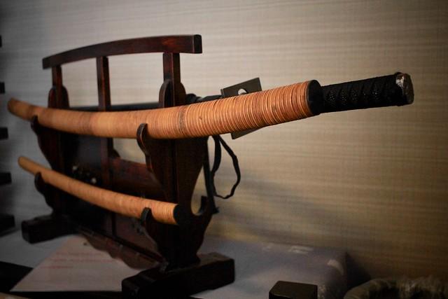 Katanas - Japanese sword on a cabinet